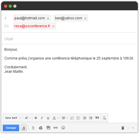Un simple email pour organiser vos conférences téléphoniques